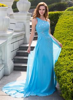 Corte A/Princesa Un sólo hombro Tren de la corte Chifón Vestido de baile de promoción con Volantes Bordado