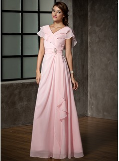 A-Line/Princess V-neck Floor-Length Chiffon Mother of the Bride Dress With Ruffle Crystal Brooch (008006120)