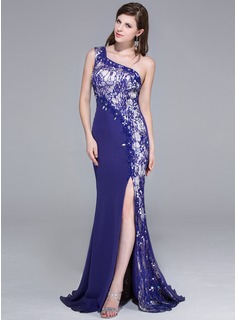 Trumpet/Mermaid One-Shoulder Sweep Train Chiffon Lace Prom Dress With Beading Sequins Split Front
