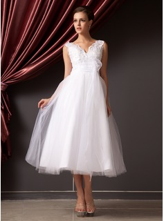 A-Line/Princess V-neck Tea-Length Organza Tulle Wedding Dress With Lace Flower(s) (002014240)