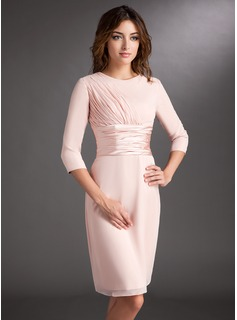 Sheath Scoop Neck Knee-Length Chiffon Charmeuse Mother of the Bride Dress With Ruffle (008006836)