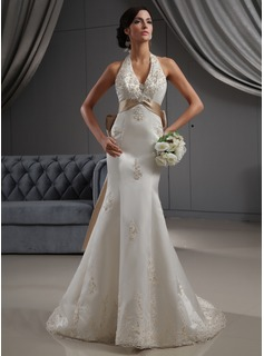 Mermaid Halter Court Train Satin Wedding Dress With Lace Sashes Beadwork Sequins (002022688)