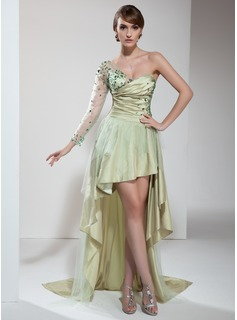 A-Line/Princess One-Shoulder Asymmetrical Taffeta Tulle Prom Dress With Ruffle Beading