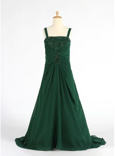 A-Line/Princess Square Neckline Sweep Train Chiffon Junior Bridesmaid Dress With Ruffle Beading (009022478)
