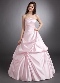 Corte de baile Estrapless Vestido Satén Vestido de quinceañera con Volantes Bordado