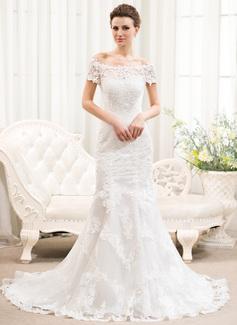 Trompete/Sereia Sem o ombro Cauda de sereia Tule Renda Vestido de noiva