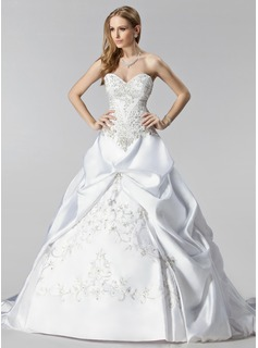 Ball-Gown Sweetheart Court Train Satin Wedding Dress With Embroidery Ruffle Beadwork (002000485)