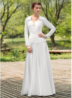 A-Line/Princess Scoop Neck Floor-Length Chiffon Satin Wedding Dress With Ruffle Beadwork (002012022)