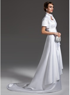 A-Line/Princess Scalloped Neck Court Train Satin Wedding Dress With Ruffle (002011985)