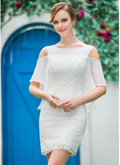 Vestido tubo Hombros caídos Corto/Mini Chifón Encaje Vestido de novia con Cascada de volantes