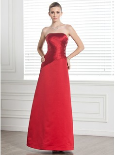 Sheath Strapless Floor-Length Satin Bridesmaid Dress With Ruffle Beading (007001065)