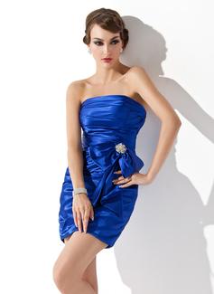 Vestido tubo Estrapless corto rodilla-longitud Charmeuse Baile de promoción con Volantes Alfiler Flor Cristal Lazo