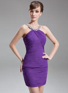 Sheath/Column Scoop Neck Short/Mini Chiffon Cocktail Dress With Ruffle Beading