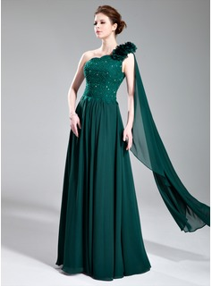 A-Line/Princess One-Shoulder Floor-Length Chiffon Lace Evening Dress With Beading Flower(s)