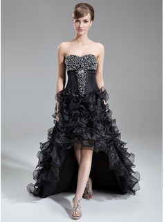 A-Line/Princess Sweetheart Asymmetrical Organza Prom Dress With Beading Sequins