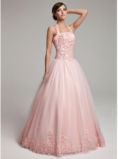 Ball-Gown Halter Floor-Length Taffeta Tulle Quinceanera Dress With Ruffle Beading Appliques Lace