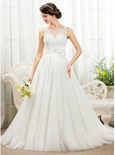 Ball-Gown V-neck Court Train Tulle Charmeuse Lace Wedding Dress With Beading Flower(s) Sequins