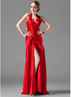 A-Line/Princess Halter Sweep Train Charmeuse Evening Dress With Ruffle Split Front