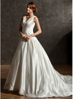 Ball-Gown V-neck Chapel Train Satin Wedding Dress With Embroidery Beadwork Sequins (002011506)