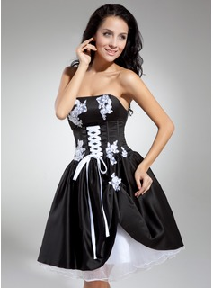 A-Line/Princess Strapless Knee-Length Organza Charmeuse Cocktail Dress With Lace (016014869)