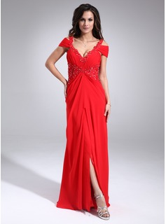 A-Line/Princess V-neck Floor-Length Chiffon Evening Dress With Ruffle Lace Beading (017020677)