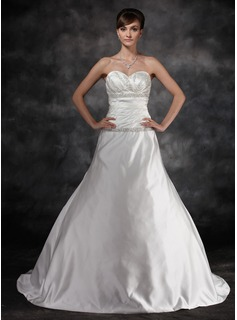 A-Line/Princess Sweetheart Court Train Charmeuse Wedding Dress With Ruffle Beadwork (002016936)