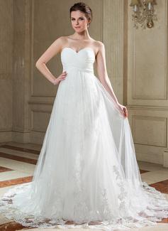 Corte imperial Escote corazón Cola capilla Chifón Tul Vestido de novia con Volantes Los appliques Encaje