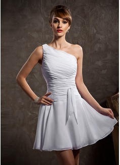 A-Line/Princess One-Shoulder Short/Mini Chiffon Bridesmaid Dress With Ruffle