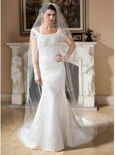 Trumpet/Mermaid Square Neckline Court Train Satin Lace Wedding Dress With Beading Sequins