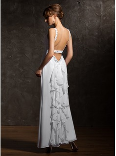 A-Line/Princess V-neck Ankle-Length Chiffon Evening Dress With Beading (017020735)