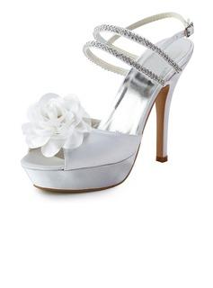 De mujer Satén Tacón Stilettos Encaje Plataforma Sandalias con Abalorios Flor del Satén