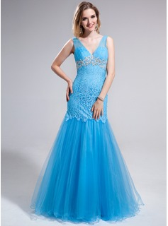 Trumpet/Mermaid V-neck Floor-Length Tulle Lace Prom Dress With Appliques Lace Sequins