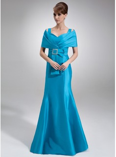 Mermaid Off-the-Shoulder Floor-Length Taffeta Mother of the Bride Dress With Ruffle Beading (008006456)