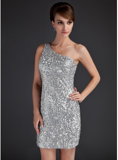 Sheath/Column One-Shoulder Short/Mini Satin Cocktail Dress With Beading Sequins