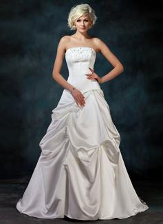 Corte A/Princesa Estrapless Cola corte Satén Vestido de novia con Volantes Bordado Los appliques Encaje