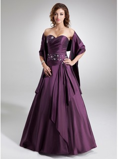 A-Line/Princess Sweetheart Floor-Length Taffeta Quinceanera Dress With Ruffle Beading (021020577)