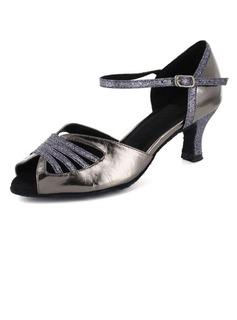 De mujer Piel brillante Tacones Sandalias Danza latina con Tira de tobillo Zapatos de danza