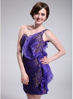 Sheath One-Shoulder Short/Mini Chiffon Organza Cocktail Dress With Ruffle Beading Sequins (016008393)