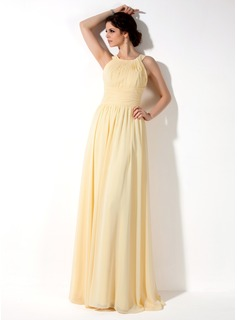 A-Line/Princess Scoop Neck Floor-Length Chiffon Bridesmaid Dress With Ruffle (007022521)