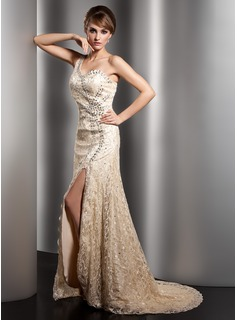 A-Line/Princess One-Shoulder Sweep Train Charmeuse Lace Mother of the Bride Dress With Beading Split Front