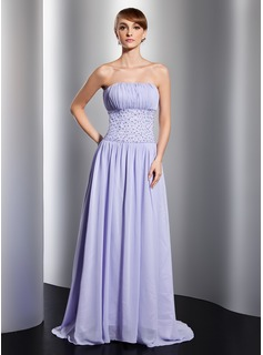 A-Line/Princess Strapless Court Train Chiffon Evening Dress With Ruffle Beading Sequins