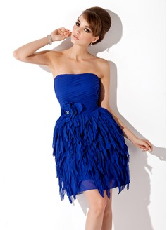A-Line/Princess Strapless Short/Mini Chiffon Homecoming Dress With Beading Flower(s) Cascading Ruffles