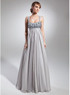 A-Line/Princess Scoop Neck Floor-Length Chiffon Charmeuse Madre della Sposa Abiti con Increspatura Perline (008015093)