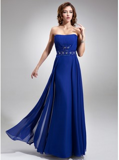 A-Line/Princess Strapless Floor-Length Chiffon Bridesmaid Dress With Ruffle Beading Sequins