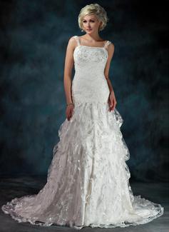 Corte A/Princesa Escote corazón Cola capilla Encaje Vestido de novia con Volantes Bordado