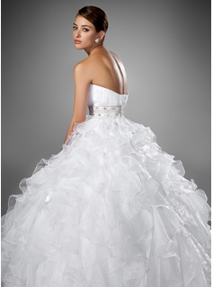 Ball-Gown Sweetheart Chapel Train Organza Satin Wedding Dress With Ruffle Beading