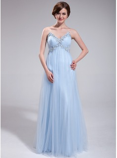 Empire Sweetheart Floor-Length Tulle Prom Dress With Ruffle Beading Sequins