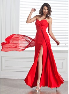 Sheath Sweetheart Floor-Length Chiffon Evening Dress With Ruffle