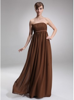 Empire Strapless Floor-Length Chiffon Charmeuse Maternity Bridesmaid Dress With Ruffle (045004381)