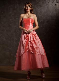 Vestidos princesa/ Formato A Coração Longuete Tafetá Vestido quinceanera com Bordado Babados em cascata